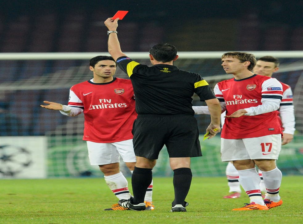 Mikel Arteta described his sending off for two bookings against Napoli as 'a joke'