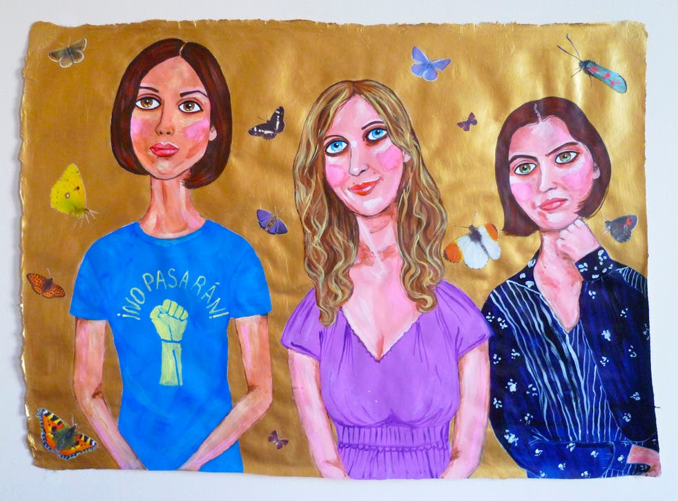 'Pussy riot butterfly' (Nadya, Masha & Katya), acrylic and collage on handmade paper, 2013