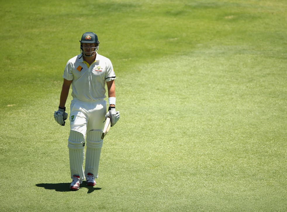 Shane Watson trudges off after the fall of his wicket in the Third Test