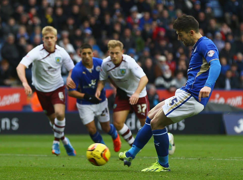 Dave Nugent scores from the spot in the days early kick-off between Leicester and Burnley