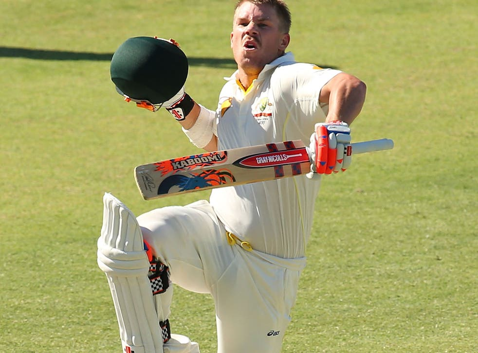 David Warner of Australia celebrates his century during day three of the Third Ashes Test Match between Australia and England