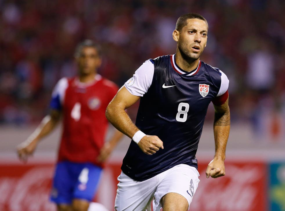 Clint Dempsey #8 of the United States reacts after scoring off a penalty kick against Costa Rica