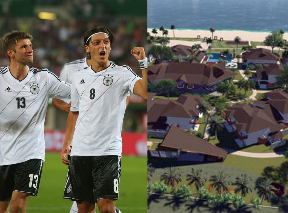 Left: Thomas Müller (l) and Mesut Özil (r) celebrate scoring against Turkey to qualify for the Fifa World Cup 2014. Right: A computer graphic of the Campo Bahia facility which will house the German team next summer.