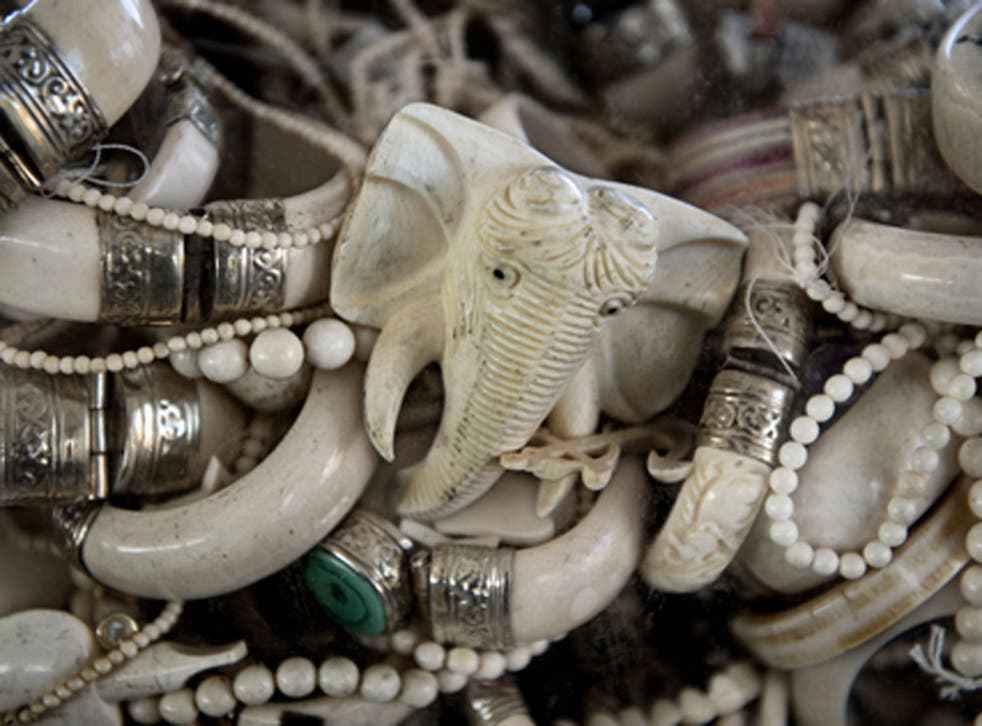 Trinkets and jewelry made from ivory are prepared to be crushed. The U.S. accounts for the second largest market for ivory in the world after China