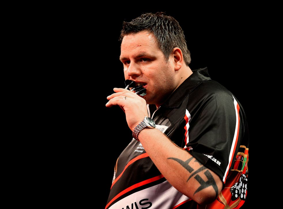 Adrian Lewis in action at the Darts World Championships