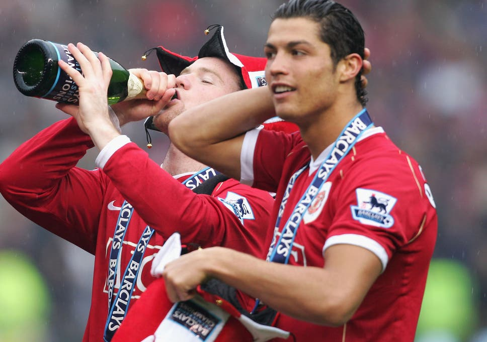 Wayne Rooney and Cristiano Ronaldo of Manchester United celebrate winning  the Premiership title at the end 8ef1f0678