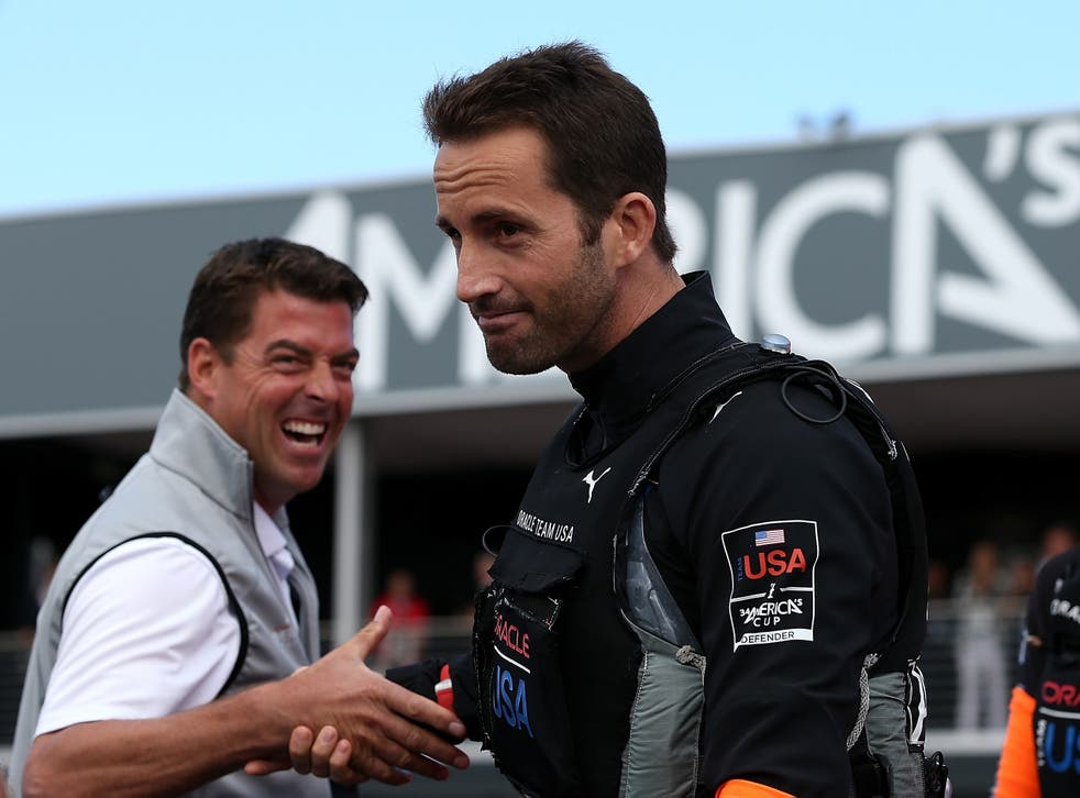 Oracle Team USA tactician Ben Ainslie participates in a dock out ceremony before the start of race six of the America's Cup finals against Emirates Team New Zealand skippered by Dean Barker in San Francisco
