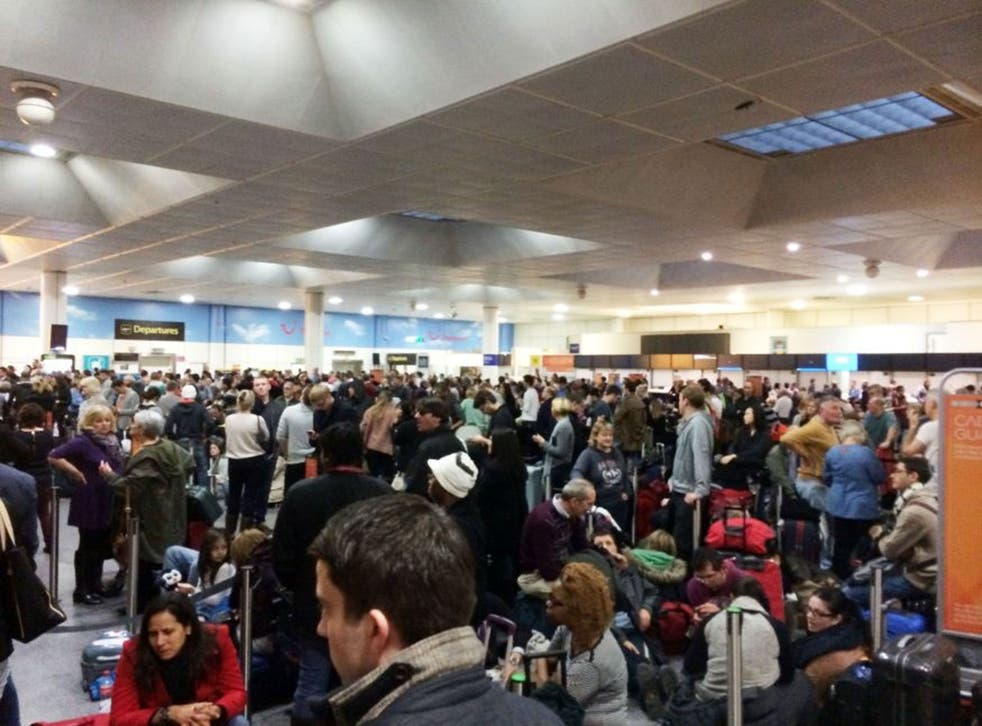 Passengers waiting at the North Terminal at Gatwick Airport, as passengers were left 'in limbo' at the airport's North Terminal as a power outage added to the travel misery felt across the country