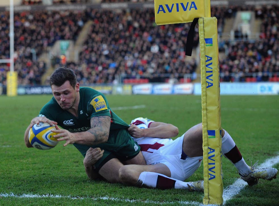 Leicester Tigers wing Adam Thompstone scores a try in their victory over Sale Sharks
