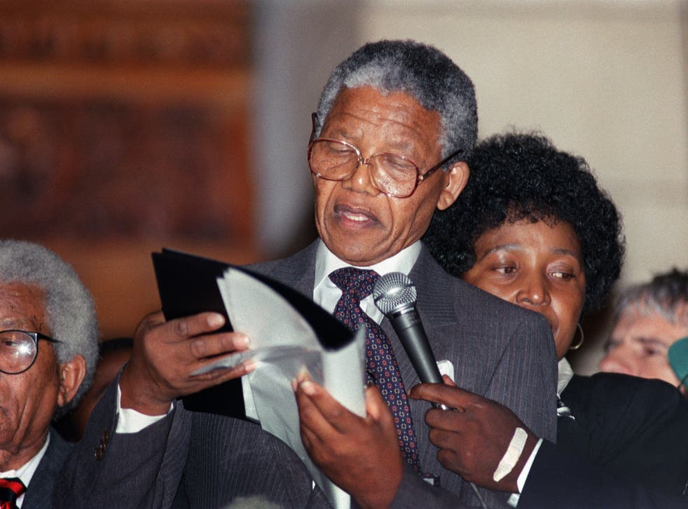 Mandela delivering his first public speech since his release from jail in Cape Town in 1990 - the same year Mandela visited Dublin
