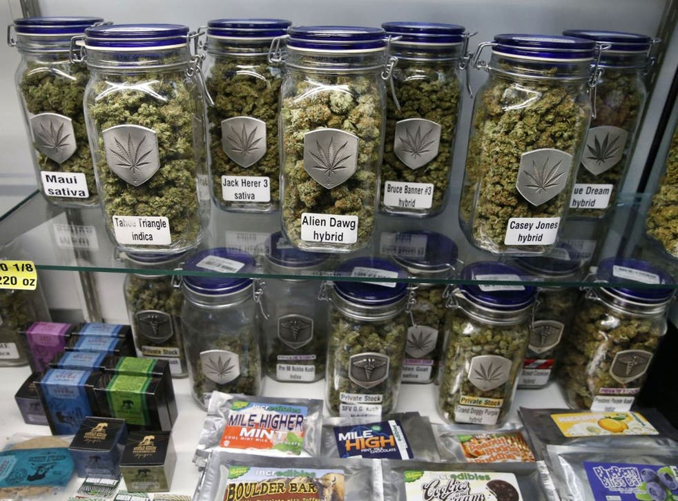 Marijuana and cannabis-infused products on display in Denver, Colorado, where it became legal for the drug to be sold for recreational use in shops
