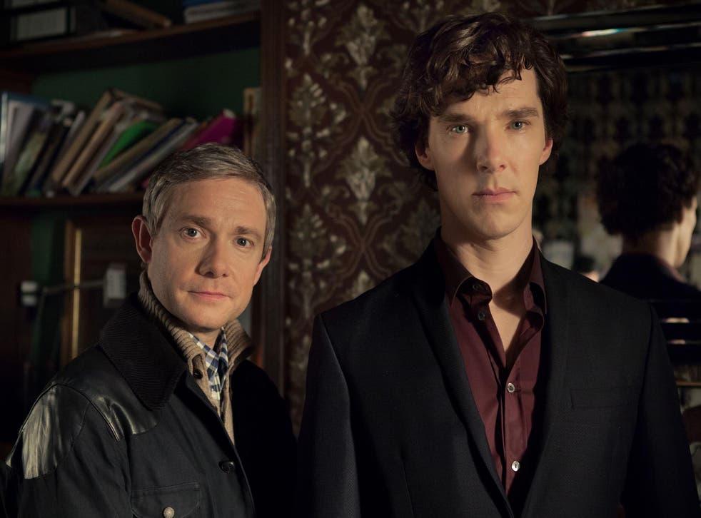 Martin Freeman as John Watson and Benedict Cumberbatch as Sherlock Holmes