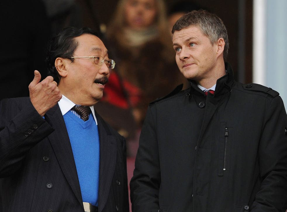 Ole Gunnar Solskjaer (right) and Cardiff City owner Vincent Tan