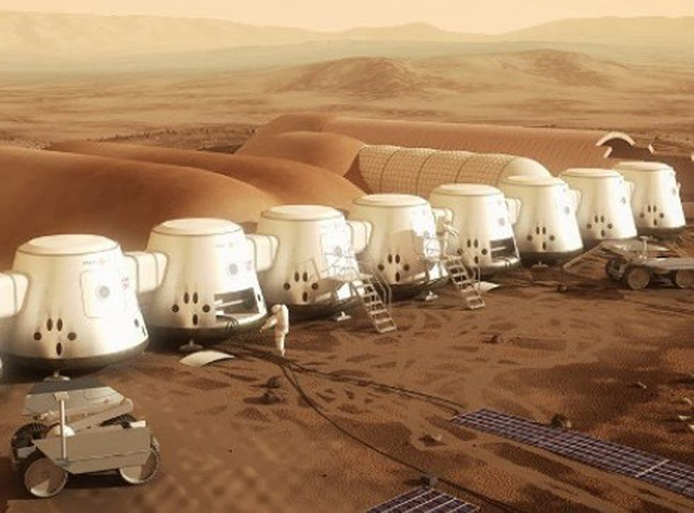 Graphic representation of what the Mars landing could look like. It is hoped the first people will land by 2025