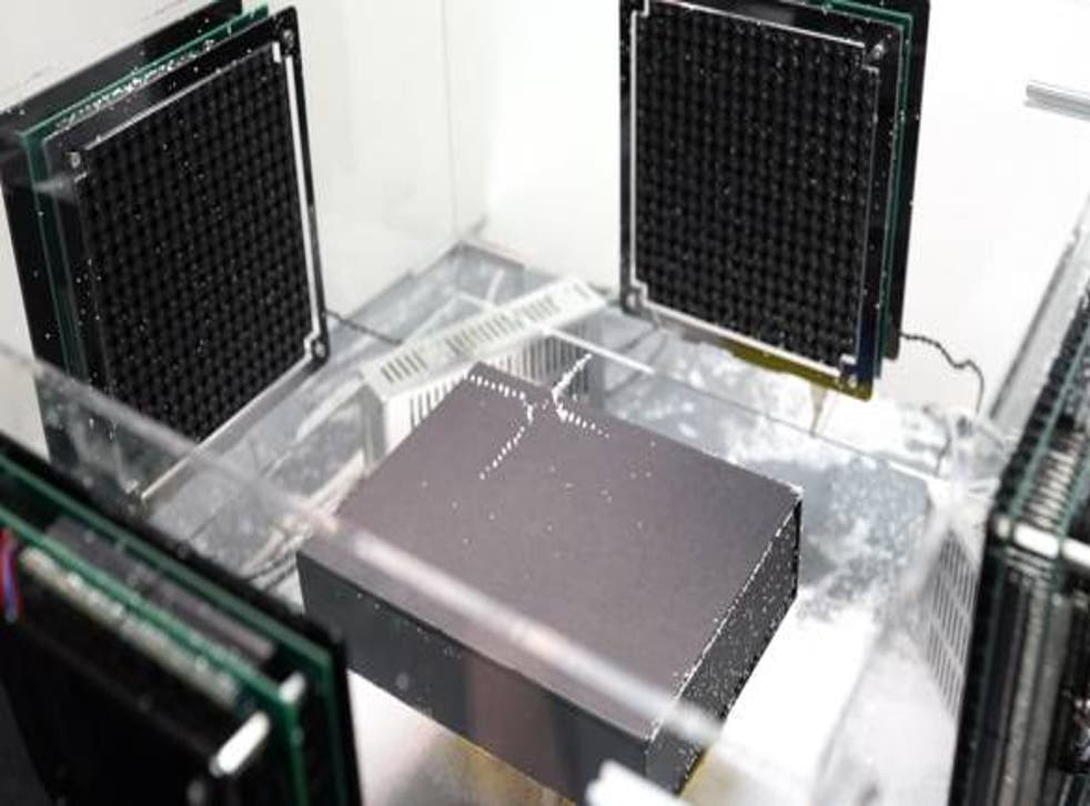 A picture of the speaker array used by Japanese scientists to levitate polystyrene particles.