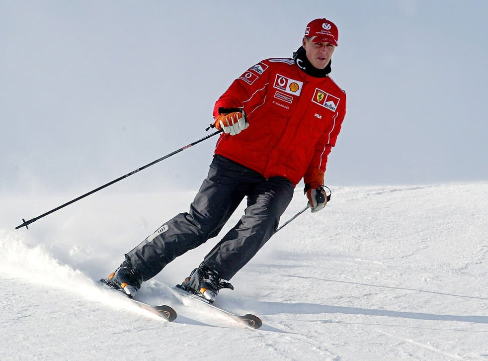 Michael Schumacher skiing in Madonna di Campiglio, Northern Italy, in 2004