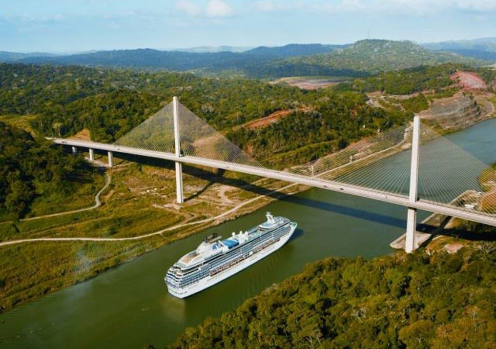 flow chart: a princess cruise ship makes its way along the panama canal