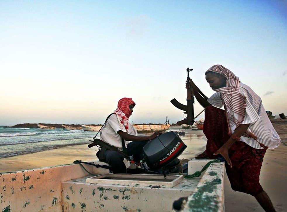 Danger at sea: Somali pirates preparing to attack ships in the Gulfof Aden in 2010