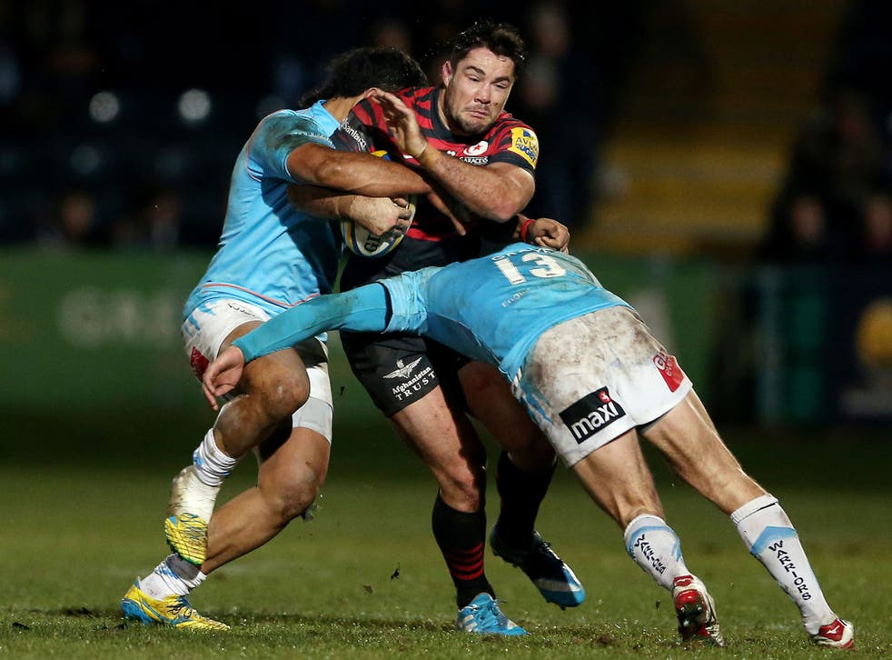 Brad Barritt, centre, believes the current Saracens side is the best in his five years at the club