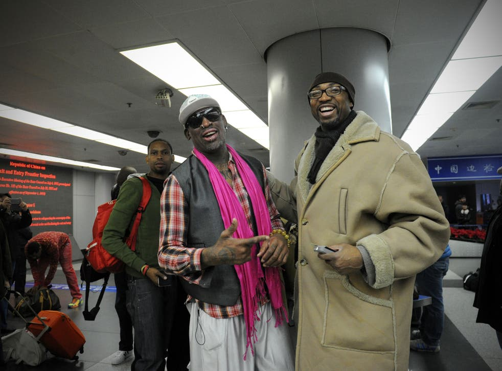 Dennis Rodman arrives in North Korea along with the All-Star basketball team that will face the national side for charity