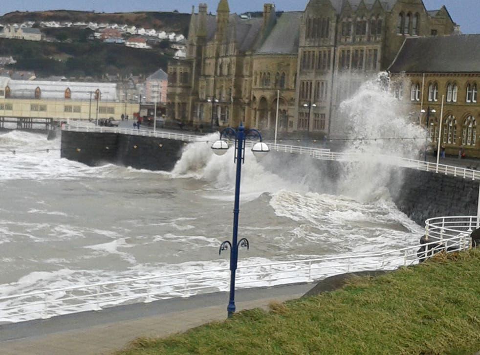 Waves batter the Aberystwyth Coast