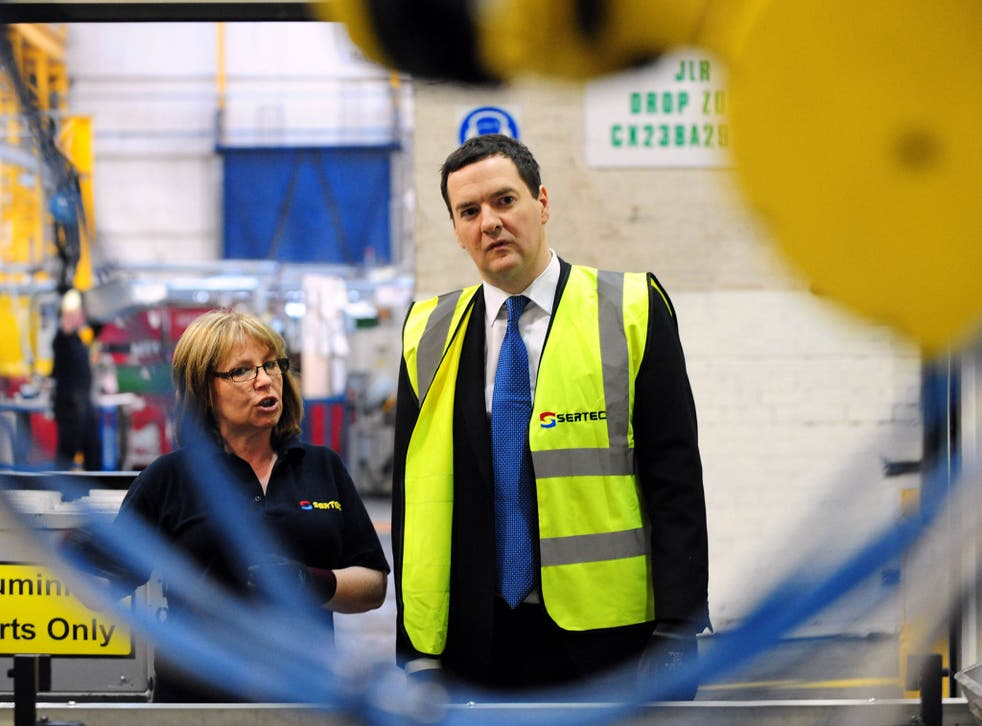 Chancellor George Osborne visits manufacturing company Sertec in Birmingham. The Chancellor has set out plans to cut a further £25 billion from public spending - including £12 billion from benefits