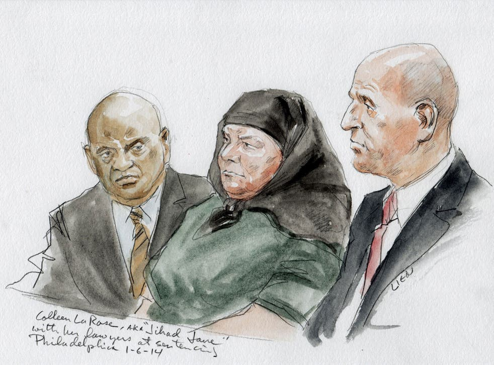 Colleen LaRose and her attorney Mark Wilson, right, are shown in this courtroom sketch during her sentencing hearing in Philadelphia