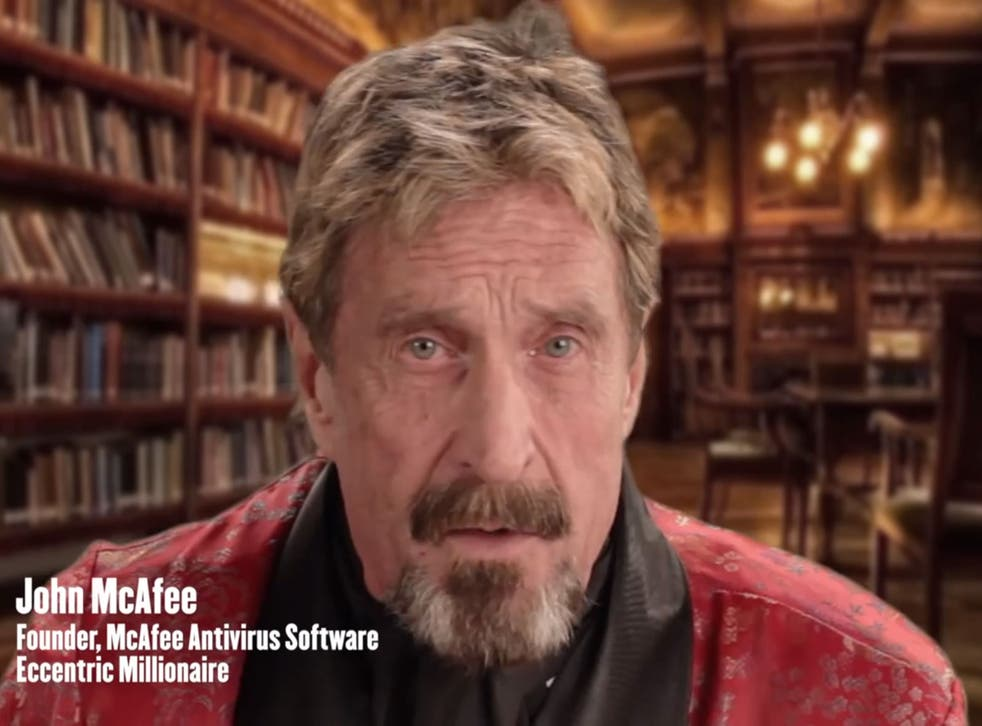 John McAfee as he appears in his video guide to uninstalling his software.