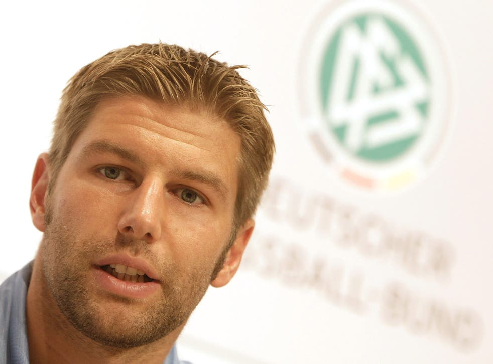 Thomas Hitzlsperger with the Germany team