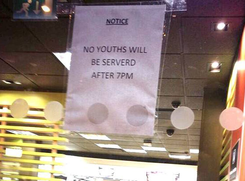 The misspelt sign said youths would not be permitted after 7pm