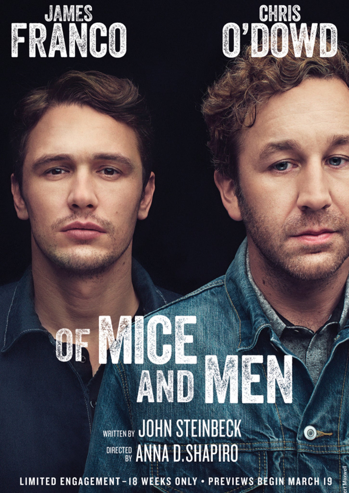 james franco and chris o dowd in first broadway poster for of mice james franco and chris o dowd in first broadway poster for of mice and men the independent