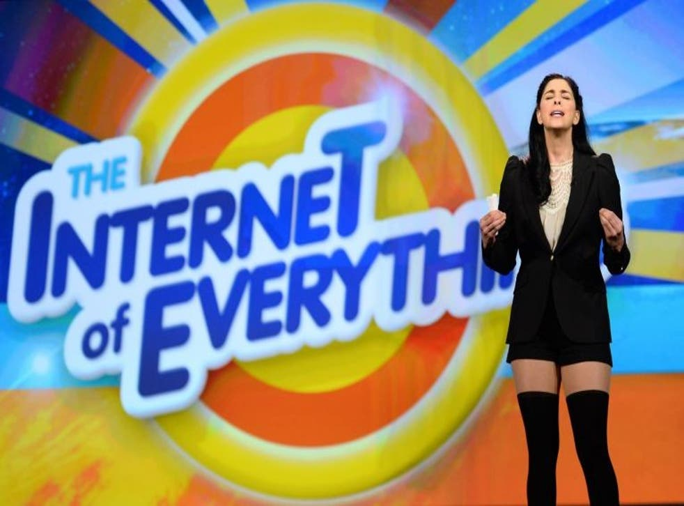 Comedian/actress Sarah Silverman speaks during a keynote address by Cisco Systems at CES.