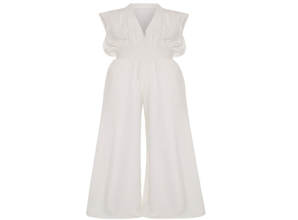 "<p>Fitriani, white pleated waist silk jumpsuit, £2,995, <a href=""http://www.fitriani.com/"">fitriani.com</a></p>"