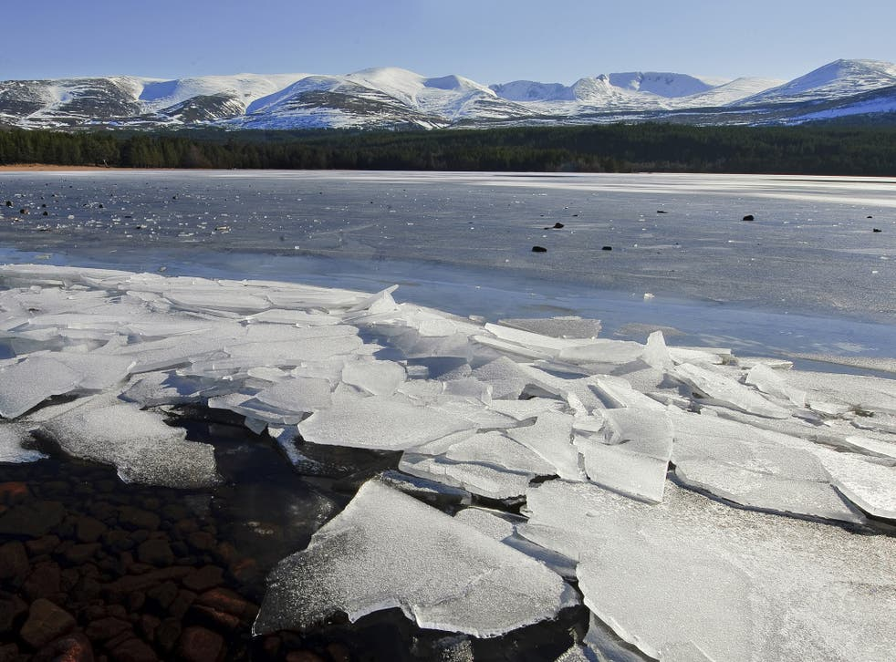 Frozen water around the Cairngorm mountains in the Highlands