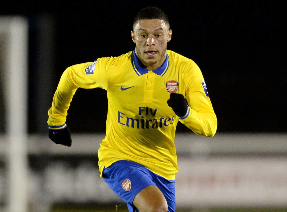 Alex Oxlade-Chamberlain in action for the Arsenal Under-21s against Fulham on Thursday night