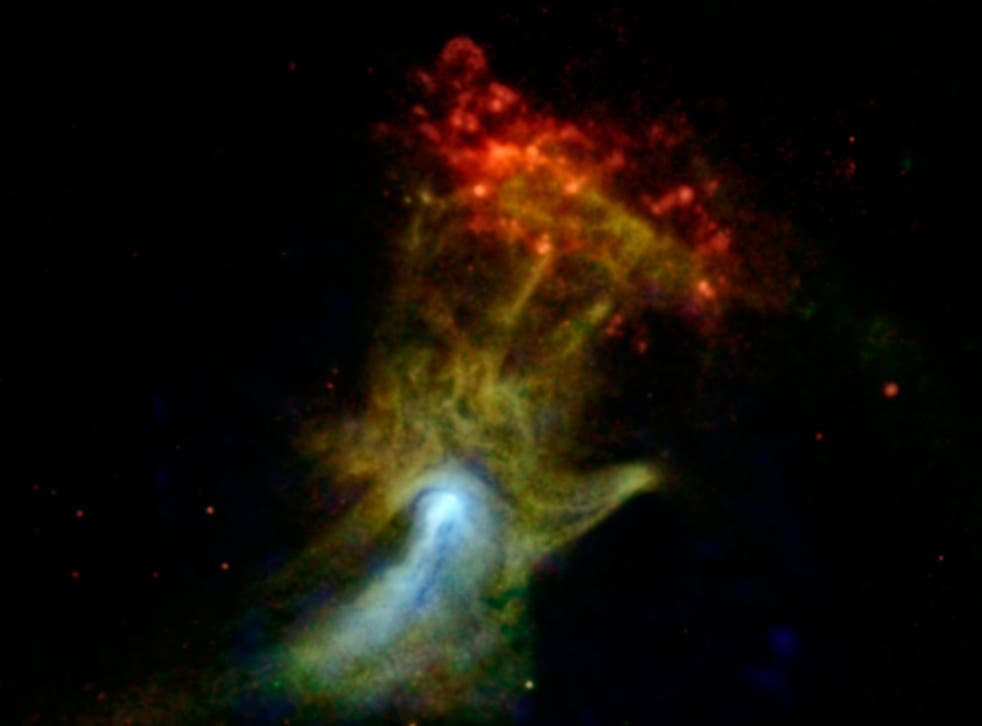 NASA's Nuclear Spectroscopic Telescope Array, or NuSTAR, has imaged the structure in high-energy X-rays for the first time, shown in blue