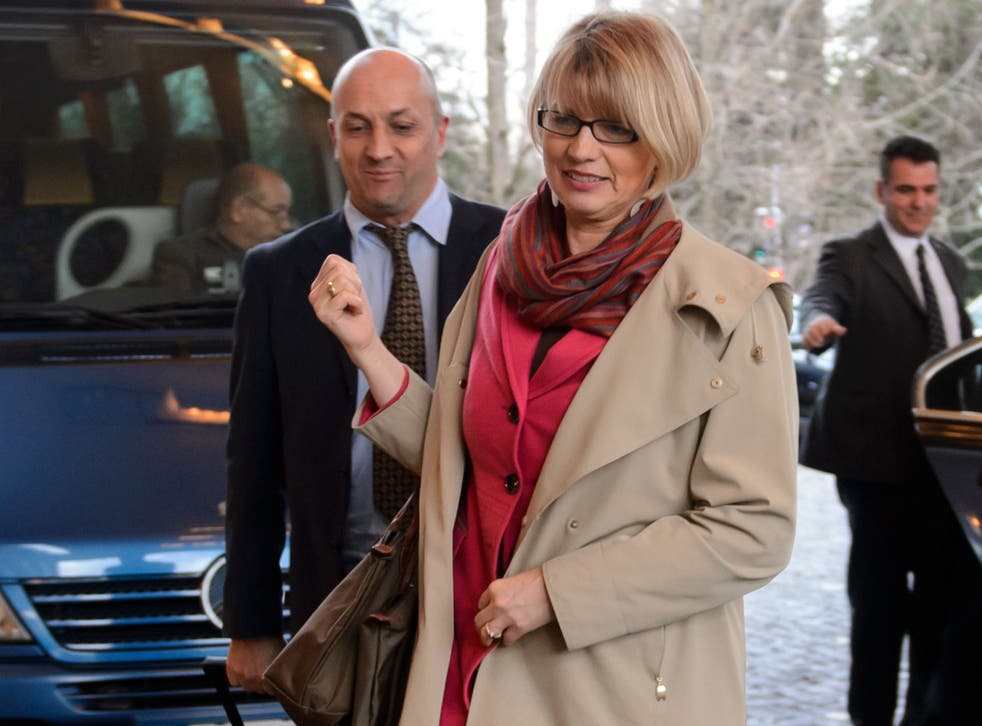 Deputy to EU foreign policy chief Helga Schmid arriving at the Intercontinetal Hotel in Geneva. Iran and world powers were set for new talks in Geneva on how to implement a landmark deal aimed at containing Tehran's nuclear drive