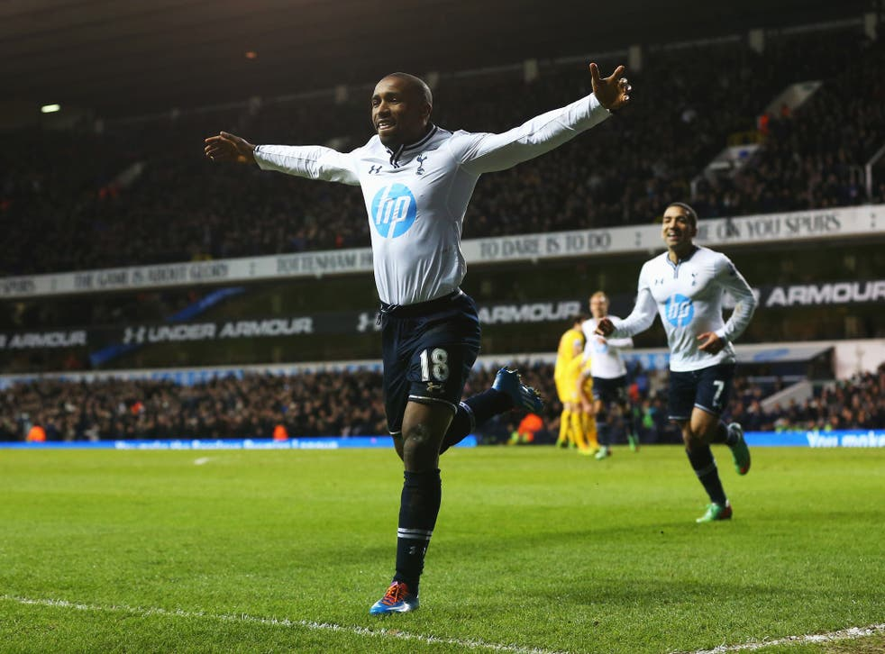 Jermain Defoe celebrates after scoring for Tottenham against Crystal Palace