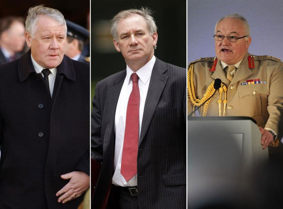 Adam Ingram, Armed Forces minister, 2001-2007 (left); Geoff Hoon,Secretary of State for Defence,1999 -2005 (centre); and general Sir Peter Wall,Oversaw British military operations in Iraq, 2003-2005