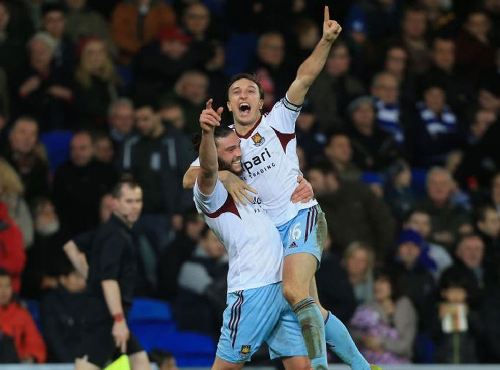 Noble prize: Mark Noble and Andy Carroll celebrate the second goal for West Ham