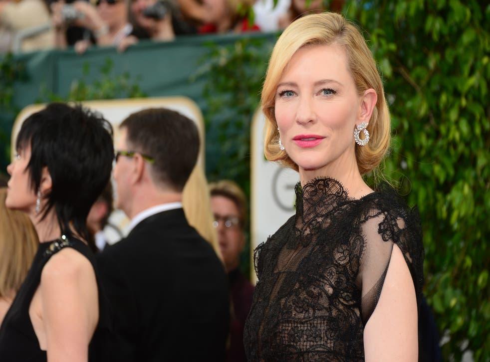 Cate Blanchett on the red carpet at the 71st Golden Globe Awards