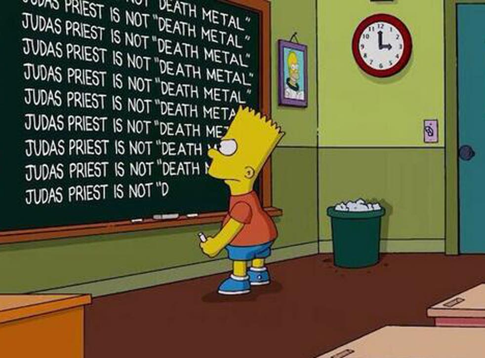 Bart Simpson chalks the show's apology on the detention blackboard during the opening credits