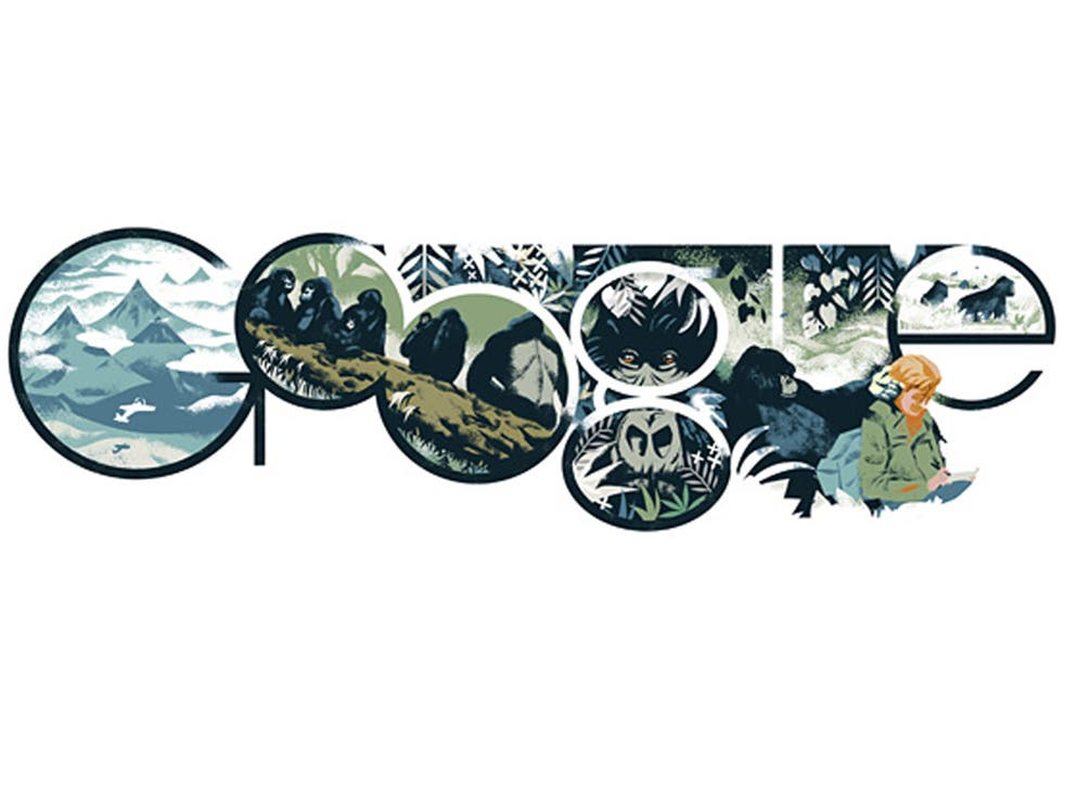The Google doodle celebrating Dian Fossey's 82nd birthday on 16 January 2014