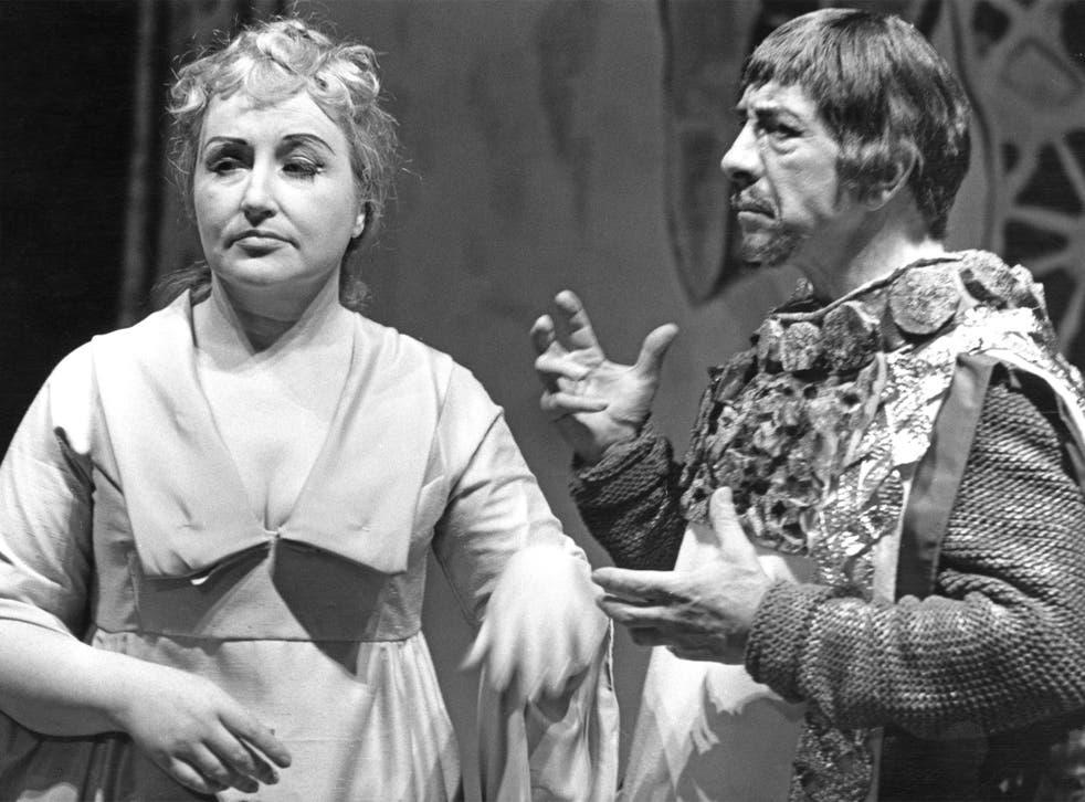 Soprano Rae Woodland as Constanza and baritone Jess Walters as Isaccio in Handel's opera 'Riccardo Primo' or 'Richard I', performed by the Handel Opera Society, 28th June 1964