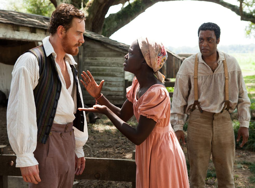 Lupita Nyong'o as Patsey in 12 Years a Slave, here pictured with Michael Fassbender and Chiwetel Ejiofor