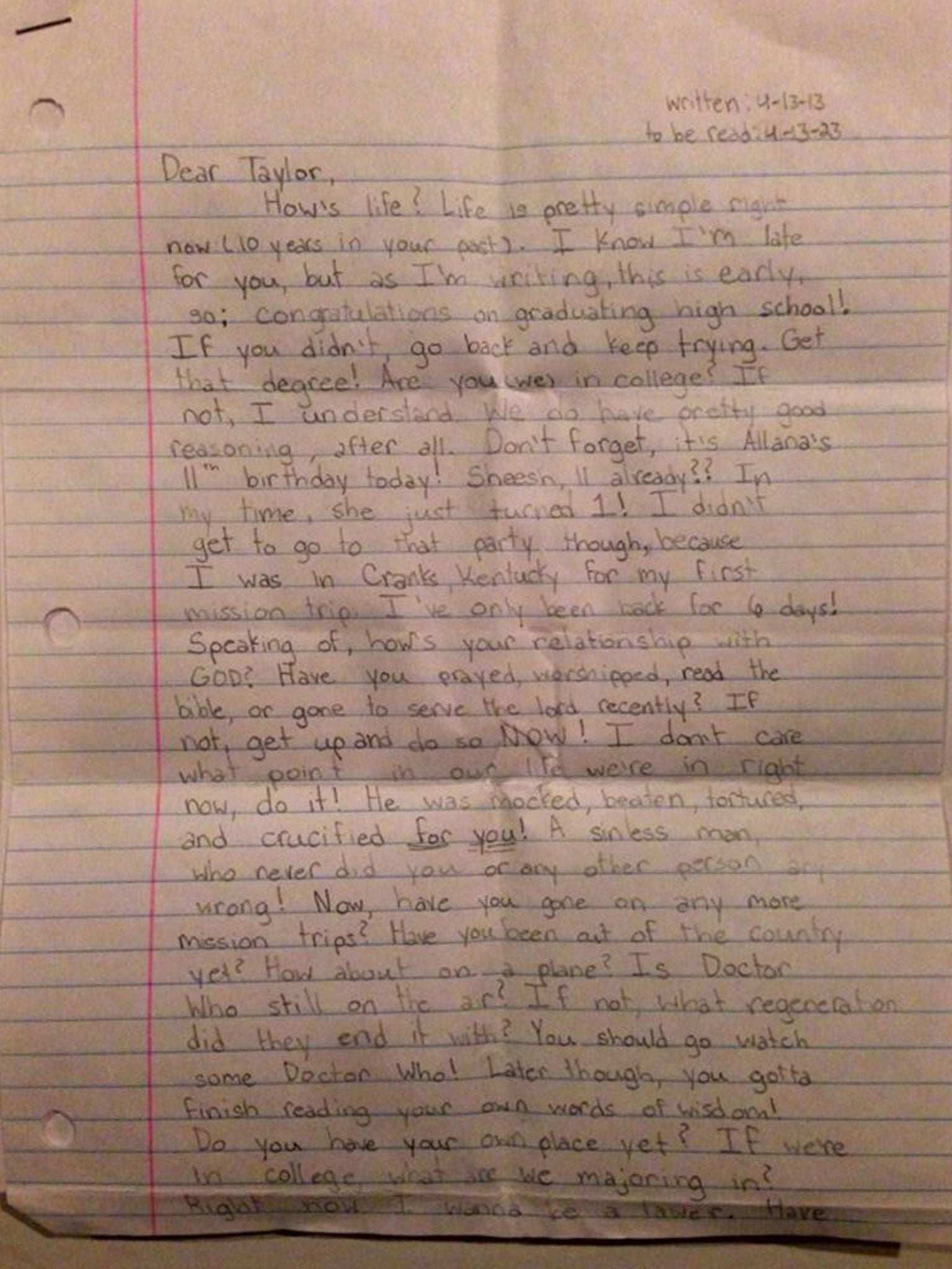 Parents find 12 year old taylor smiths letter to her future self the letter 12 year old taylor penned to her 22 year old self expocarfo Gallery