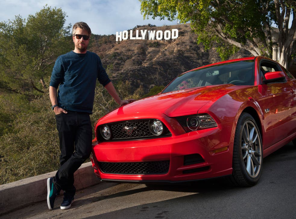 Tim Walker with his Mustang beneath the Hollyood sign and driving through the Los Angeles River