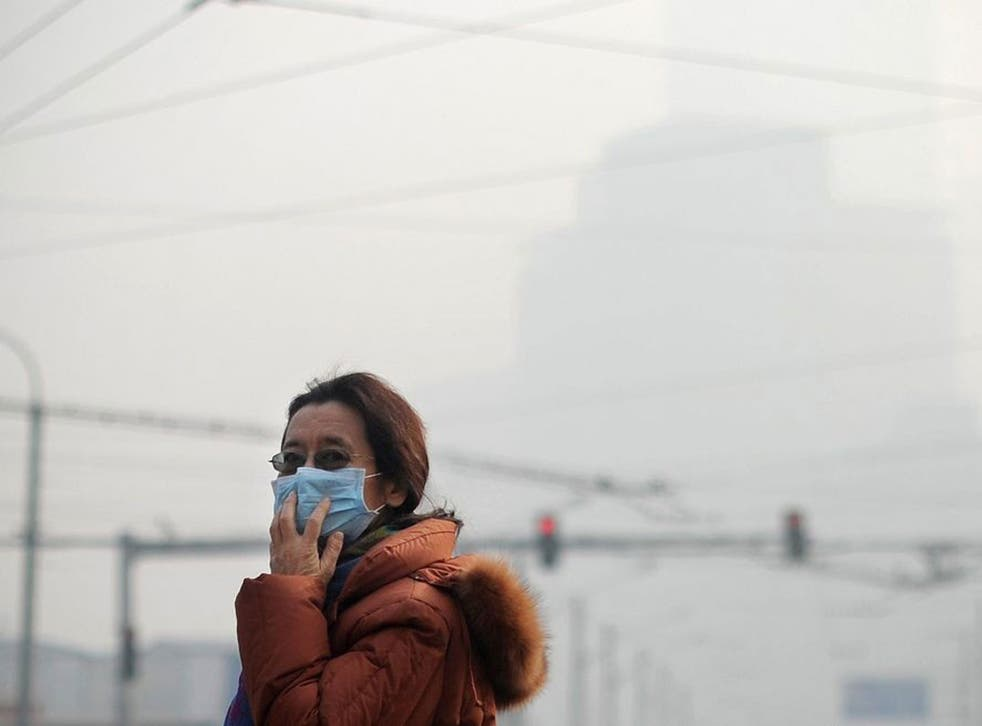 China's capital was shrouded in thick smog on 16 January, cutting visibility down to a few hundred yards as a count of small particulate pollution reached more than 20 times WHO-recommended levels