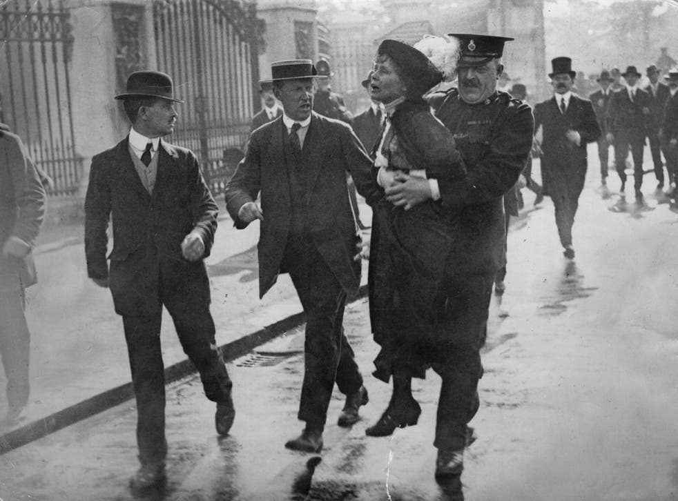 Civil unrest: Emmeline Pankhurst arrested at a demonstration outside Buckingham Palace