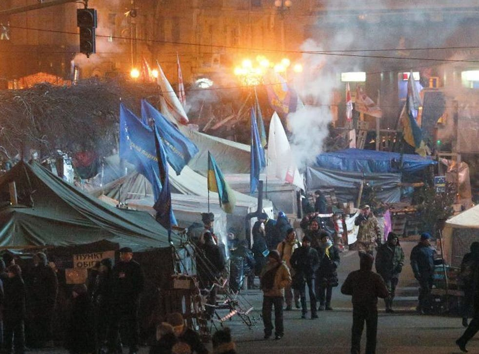 Pro-European protesters around their tent camp at Independence square, Kiev